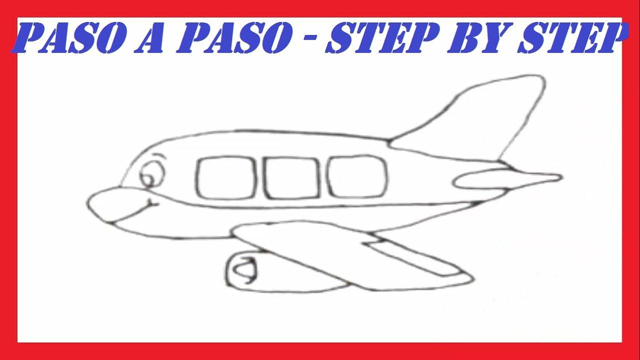 Como dibujar un avi n l how to draw a plane youtube for Como disenar un jardin paso a paso