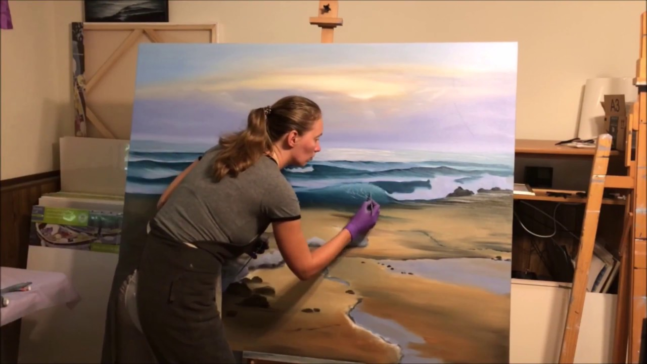 What Color Is Sienna >> Awakening - Sunrise over the Ocean painting by Eva Volf - YouTube