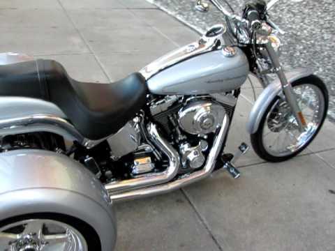 Trike Motorcycles For Sale >> Harley Softail Deuce Bobber Trike Big Shot Exhaust - YouTube