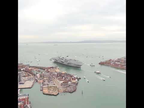 Watch the historic moment HMS Queen Elizabeth enters Portsmouth Harbour