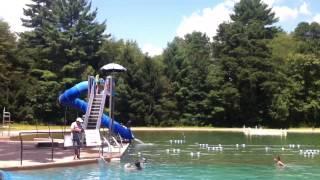 Justin on water slide