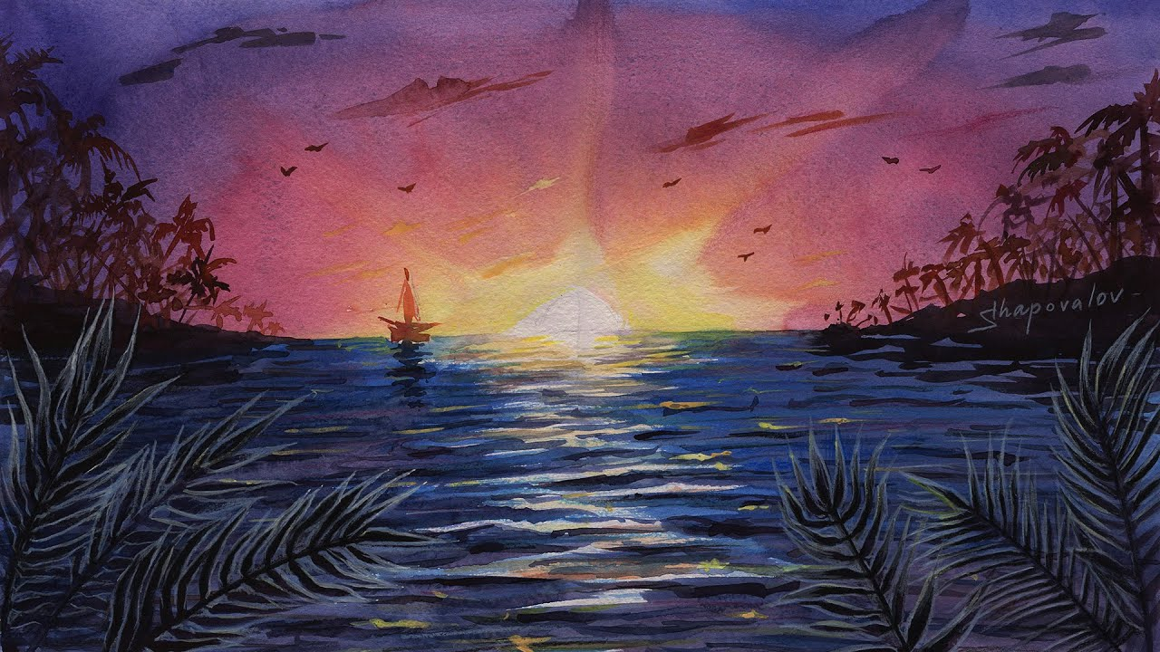 Speed Drawing Watercolor Sunset Landscape Time Lapse - Sea ...