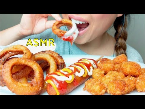 ASMR FRIED Onion Rings + Tater Tots + Corn Dog 수 엘라 먹방 *No Talking* Eating Sounds suellASMR