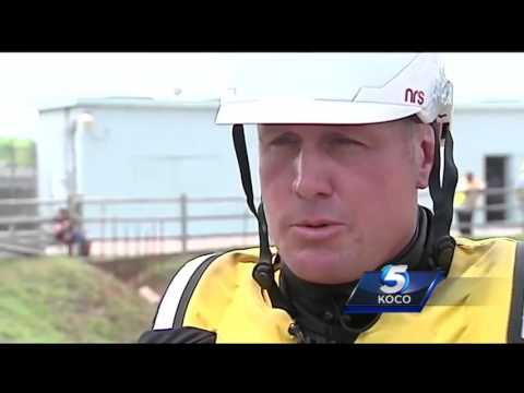 Fire departments conduct swift water rescue training in Lake Overholser