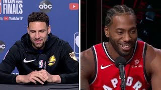 Klay Thompson Does KAWHI LEONARD'S LAUGH In An Interview!