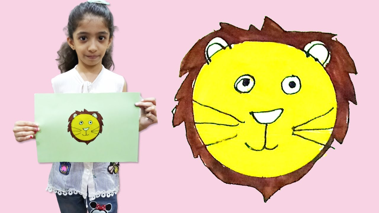 Drawing and Coloring Lion for Kids [Circle Shape] -- Step by Step Tutorial