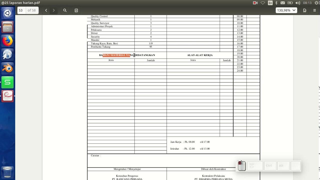 25 Laporan Harian Proyek Lengkap Di Excel Dengan Jam Cuaca Jabatan Serta List Peralatan Youtube