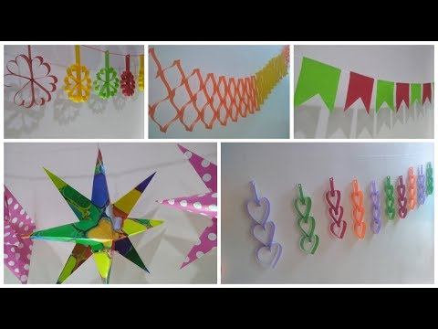 5 Easy Birthday and Party decorations ideas at home  Paper crafts ideas at home