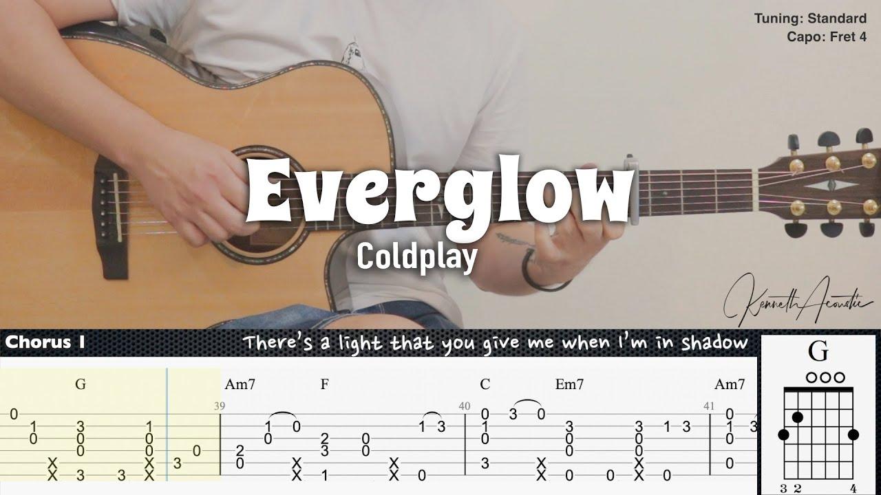 Everglow - Coldplay | Fingerstyle Guitar | TAB + Chords + Lyrics