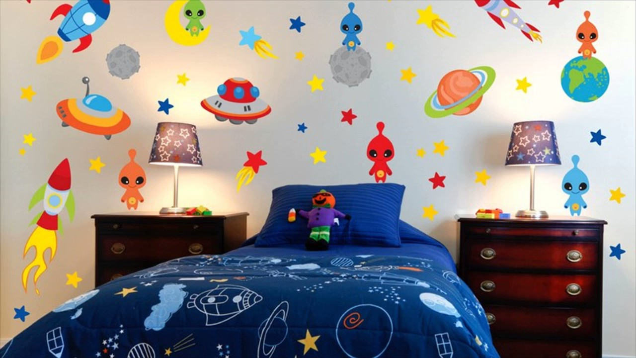 Space theme room for kids youtube for Themed bedroom wallpaper