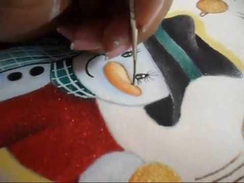 Como pintar un mu eco de nieve en tela paso a paso parte 2 - Como hacer un muneco ...