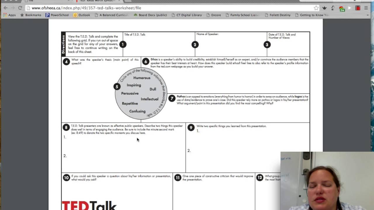 Ted Talk Worksheet Instructions - YouTube