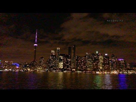 Beautiful Night Ferry Trip From Toronto Islands On Lake Ontario 4K UHD