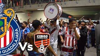 CHIVAS VS CIBAO SALIDA DE LA IRREVERENTE, REJA, LEGIÓN Y AFICIÓN CONCACAF LIGA DE CAMPEONES