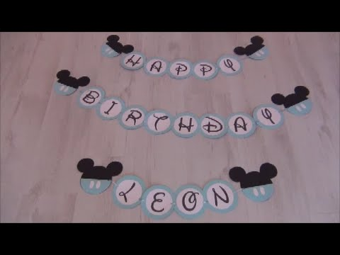 leons 1 geburtstag baby micky maus party diy girlande youtube. Black Bedroom Furniture Sets. Home Design Ideas