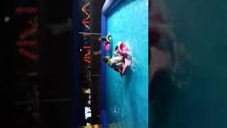 Small kids boating with swimming pool