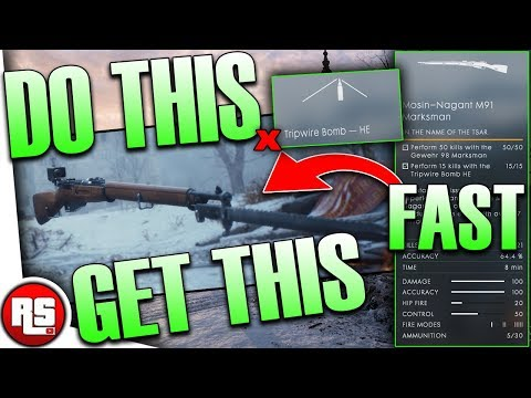 Battlefield 1 Mosin nagant marksman, how to unlock, tripwire bomb tips, bf1 how to use tripwire he✔️