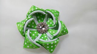 93) DIY - Tutorial || Cara Membuat Bros Bunga Hoodie || How to Make Kanzashi Ribbon Flower