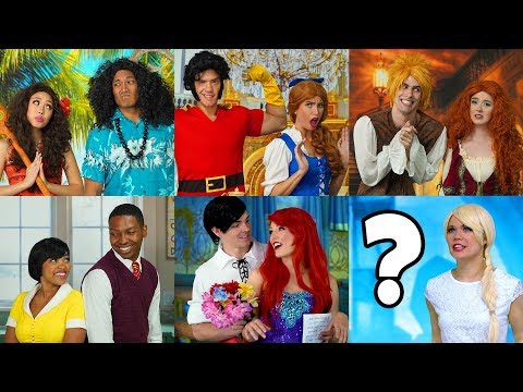 WHO'S GOING TO PROM? FROZEN ELSA ARIEL MOANA TIANA BELLE & MERIDA NEED PRINCES (Totally TV Dress Up)