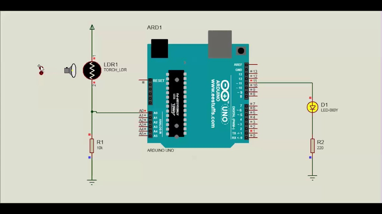 Arduino LDR LED on/off Proteus Simulation - YouTube