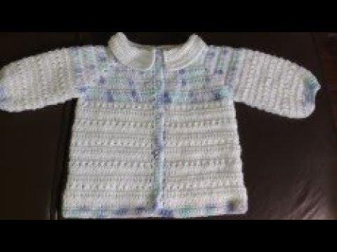 3ebd3ed31 casaquinho de crochê de lã para bebê de ( 0 a 3 meses), fácil de fazer (  1/2 )