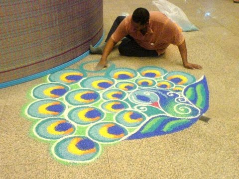 Beautiful peacock rangoli design on floor sankranthi for Floor rangoli design