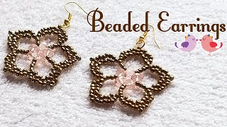 💖 Beaded Flower Earrings 💖 Five Petals 💖 (0088)