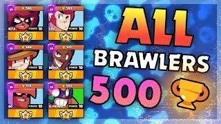 How To Get ALL Brawlers to 500 Trophies SHOWDOWN No Teaming! Brawl Stars thumbnail