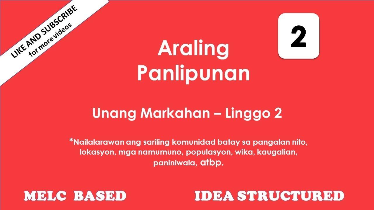 Quarter 1 Lesson 2 Araling Panlipunan 2 Nailalarawan ang sariling komunidad  batay sa pangalan nito - YouTube [ 720 x 1280 Pixel ]