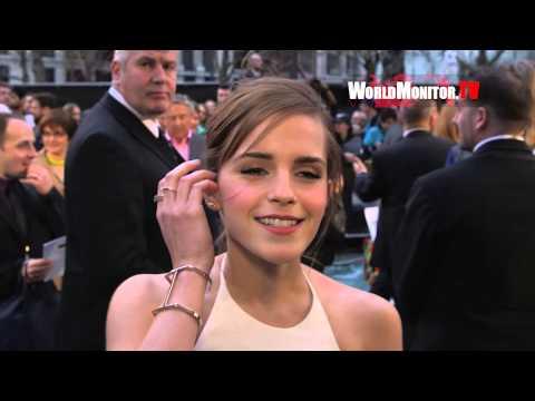 Emma Watson 'Ila' being interviewed at NOAH UK Film Premiere
