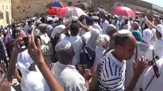 Ethiopian Jews dancing at the Western Wall (Wailing Wall) in Jerusalem on Sukkot