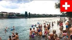 Schweiz Basel - Rhein schwimmen nach Feierabend