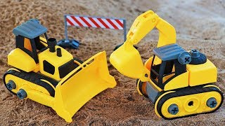 Unbox Toys car Assembly Video for Children Excavator Tow truck Dump truck