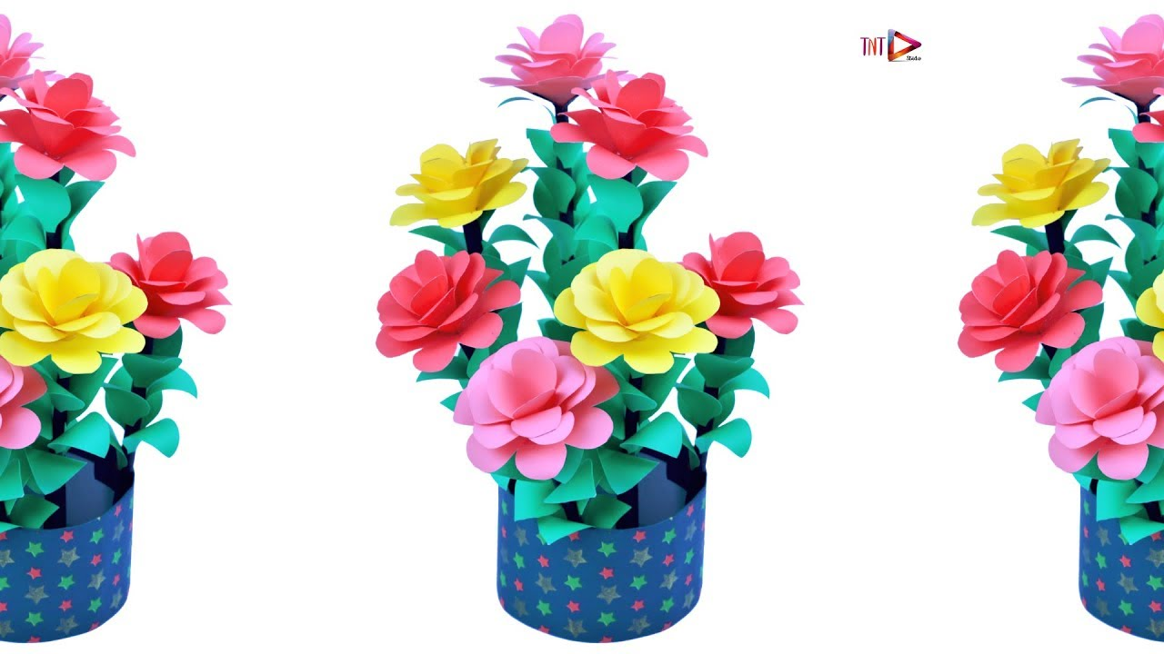 Paper Flower Pot Cone Shaped How To Make Beautiful Flower Vase At Home Diy Craft Ideas Youtube
