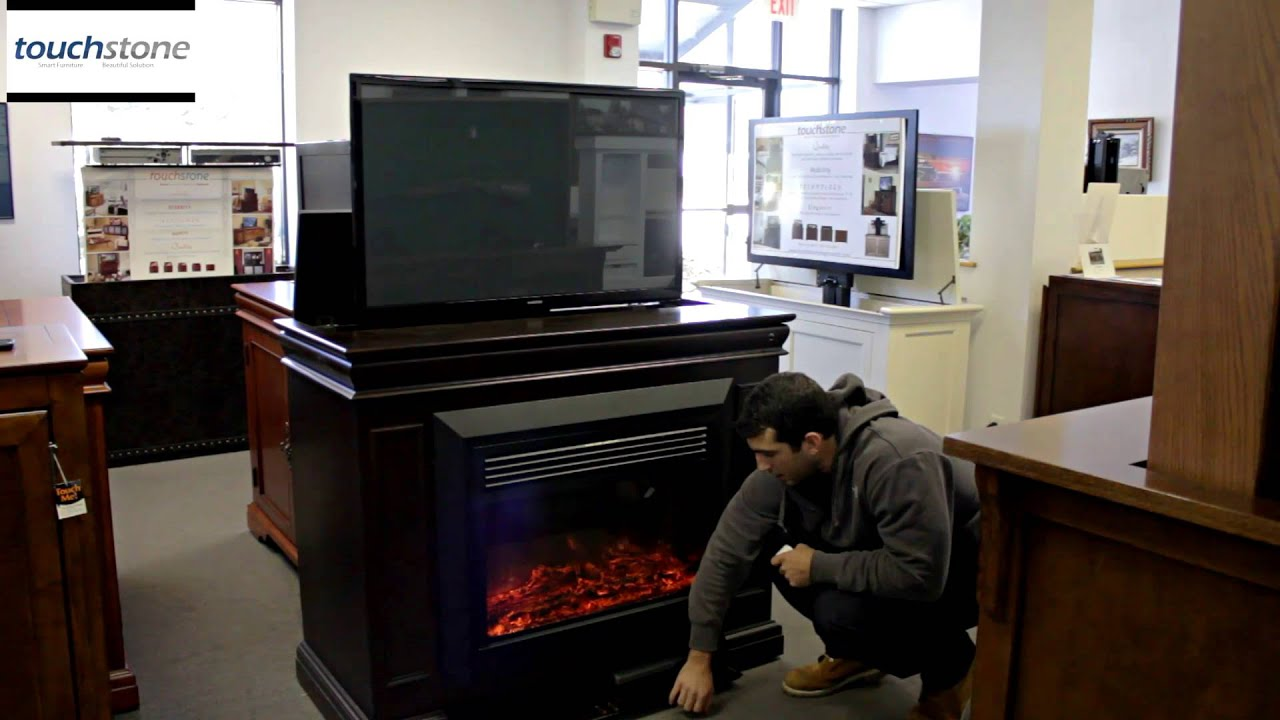 Touchstone Conestoga TV Lift Cabinet with Electric Fireplace - YouTube