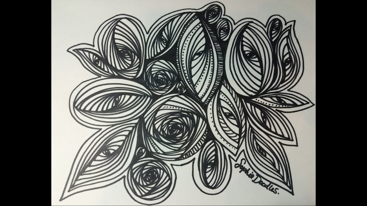 Line Art Zentangle : Pursuit curve circle and oval doodle zentangle