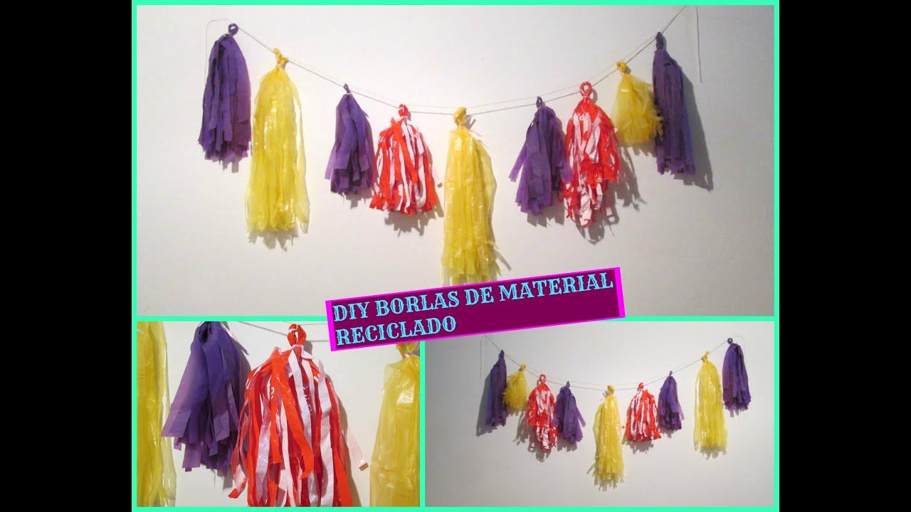 Guirnaldas para decorar usando mantel poncho y bolsas de - Como reciclar para decorar ...