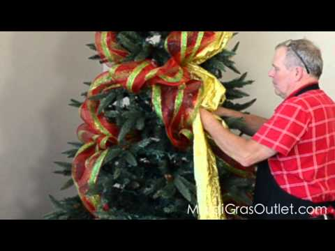How to Decorate a Christmas Tree with Deco Poly Mesh - YouTube