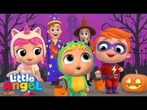 Baby Learns Trick or Treat | Little Angel Halloween Song | Nursery Rhymes \u0026 Kids Songs