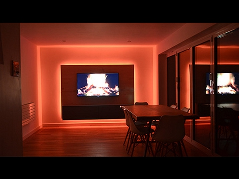 Stunning media panel with colour-change LED Strip lights - InStyle LED