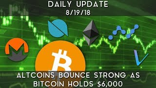 Daily Update (8/19/18)   Altcoins rebound strong as bitcoin holds $6,000