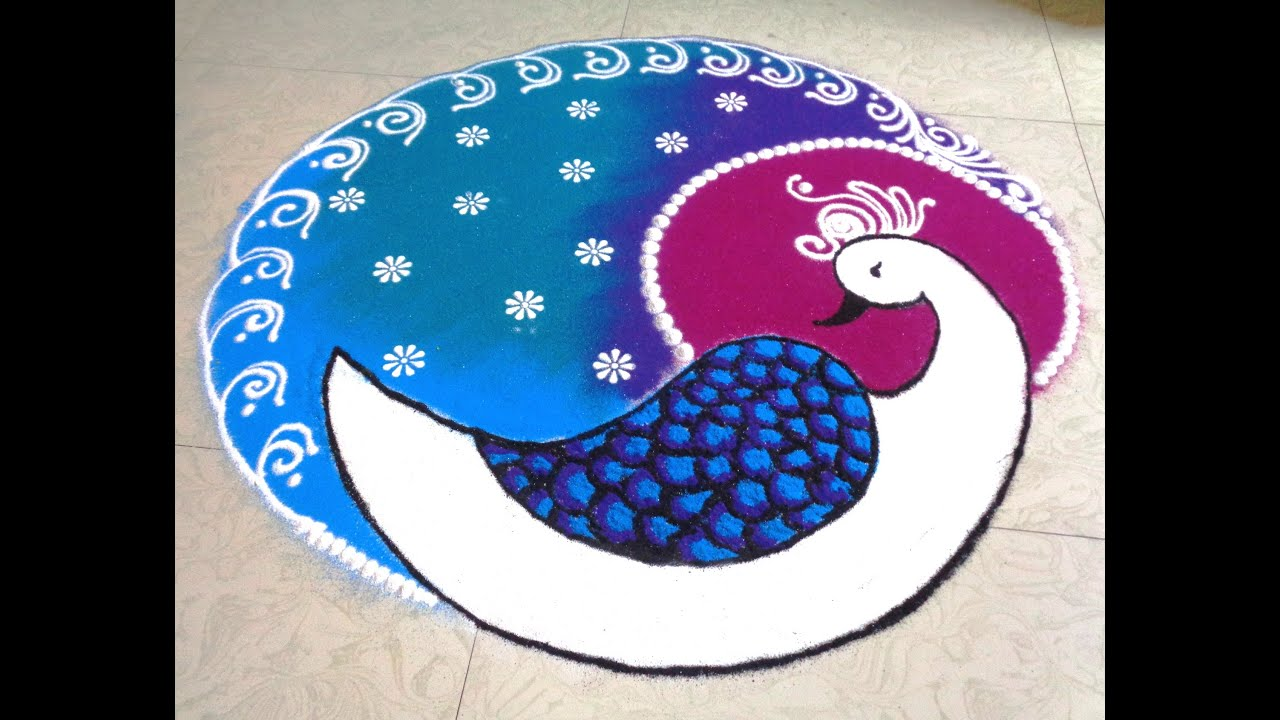 how to draw peacock latest rangoli - YouTube for How To Draw Peacock Rangoli Step By Step  585ifm