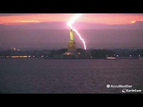Statue of Liberty struck by lightning