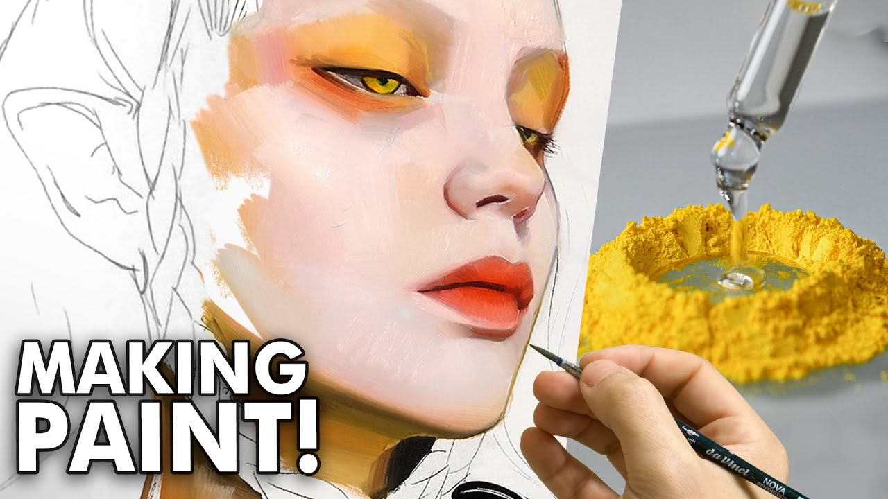 MAKING OIL PAINT from Scratch & Painting with it... SO SATISFYING!