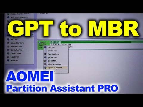 Lossless conversion from GPT to MBR (AOMEI Partition Assistant Pro)