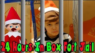 24 Hours Real Life Elf In The Shelf In Box Fort Jail! 24 Hour Challenge In Box Fort Prison!