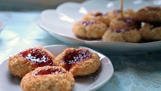Coconut Jam Thumbprint Cookies كوكيز بالمربى و جوز الهند