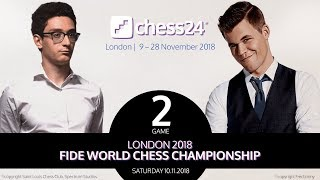 Carlsen-Caruana Game 2 - 2018 FIDE World Chess Championship