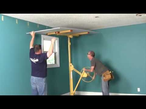 Ceiling Cover Up How To Use A Drywall Lift Youtube