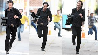 Keanu Reeves running off with a Camera he just Stole from the paparazzi   Full Clip of viral Meme